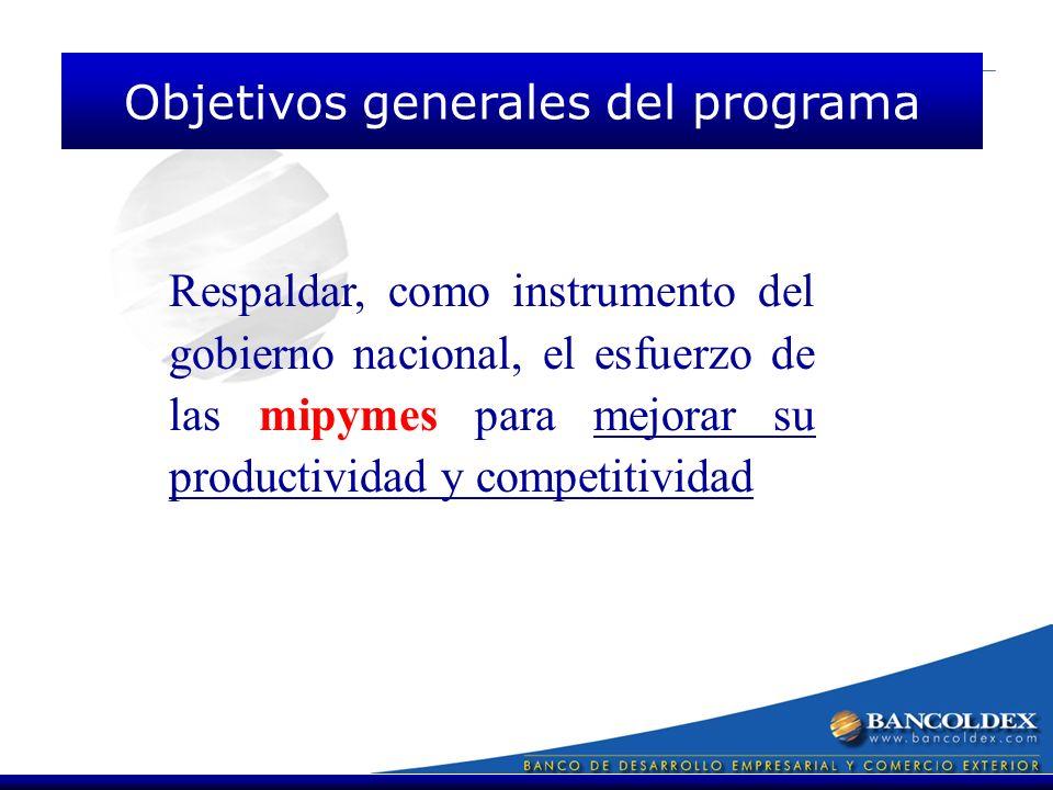 Respaldar, como instrumento del gobierno nacional, el esfuerzo de las mipymes para mejorar su productividad y competitividad Objetivos generales del programa