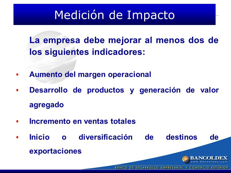La empresa debe mejorar al menos dos de los siguientes indicadores: Aumento del margen operacional Desarrollo de productos y generación de valor agregado Incremento en ventas totales Inicio o diversificación de destinos de exportaciones Medición de Impacto