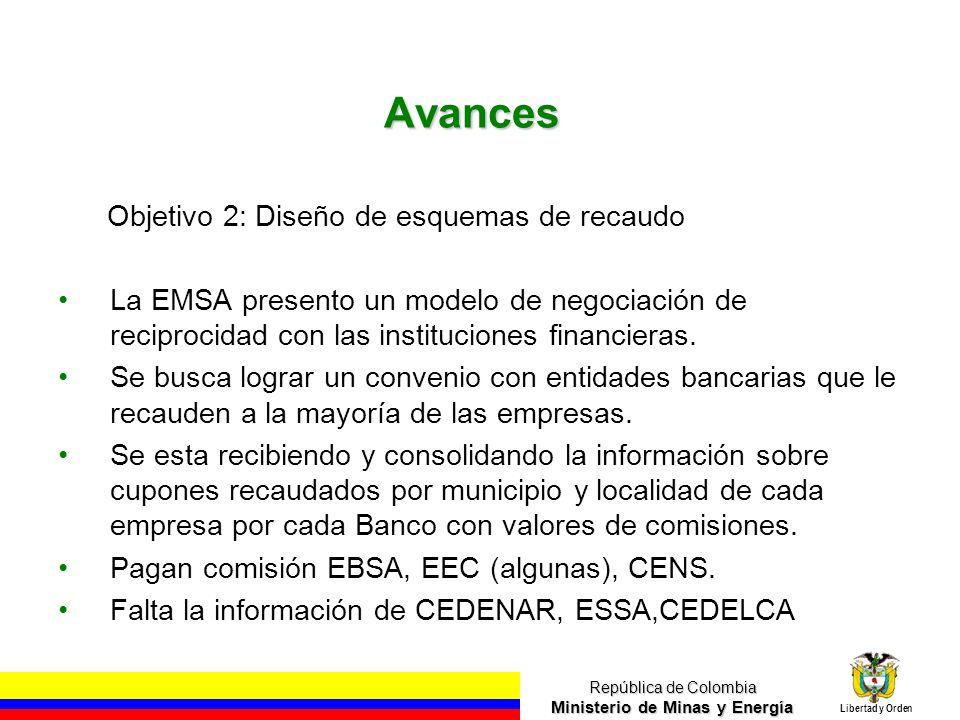 República de Colombia Ministerio de Minas y Energía Libertad y Orden Avances Objetivo 2: Diseño de esquemas de recaudo La EMSA presento un modelo de negociación de reciprocidad con las instituciones financieras.
