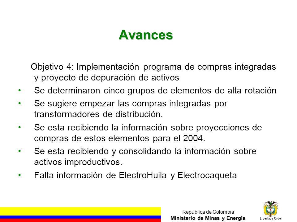 República de Colombia Ministerio de Minas y Energía Libertad y Orden Avances Objetivo 5: Optimización de Compras englobadas de tiquetes aéreos Las empresas del holding gastan aproximadamente $1.600 millones anuales.