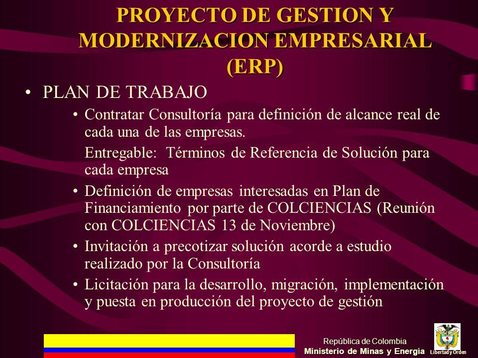 PROYECTO DE GESTION Y MODERNIZACION EMPRESARIAL (ERP) PLAN DE TRABAJO Contratar Consultoría para definición de alcance real de cada una de las empresa