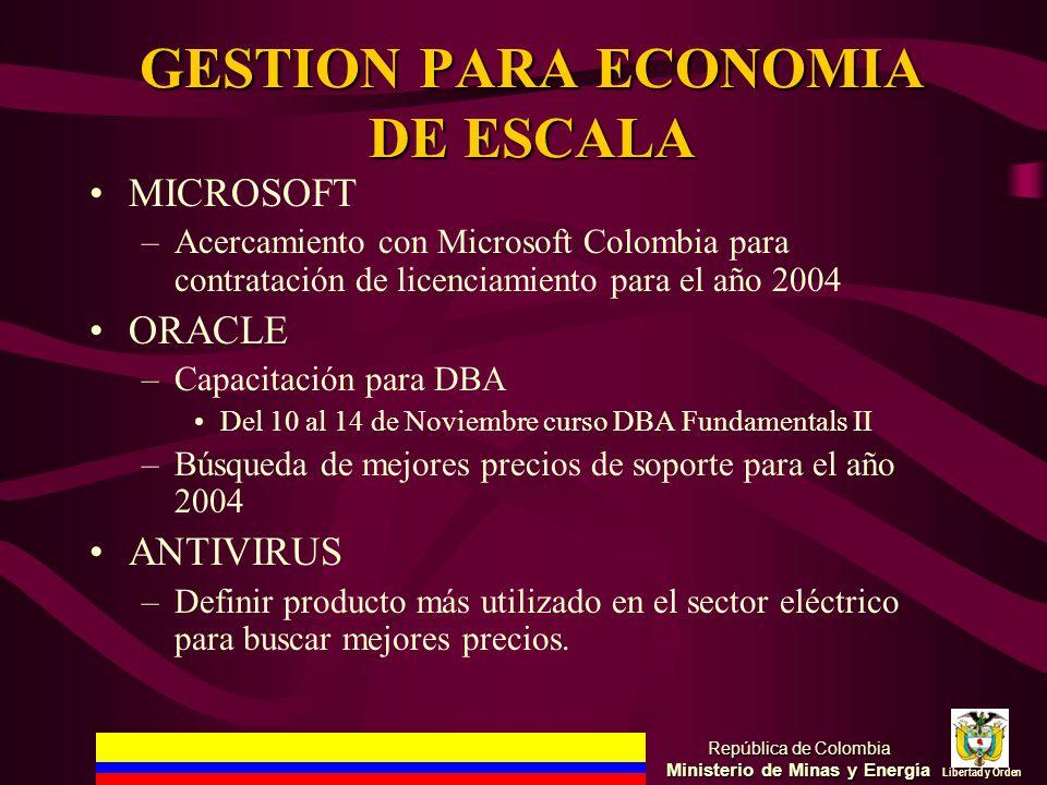 GESTION PARA ECONOMIA DE ESCALA MICROSOFT –Acercamiento con Microsoft Colombia para contratación de licenciamiento para el año 2004 ORACLE –Capacitaci