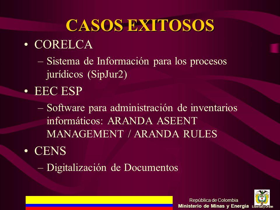 CASOS EXITOSOS CORELCA –Sistema de Información para los procesos jurídicos (SipJur2) EEC ESP –Software para administración de inventarios informáticos