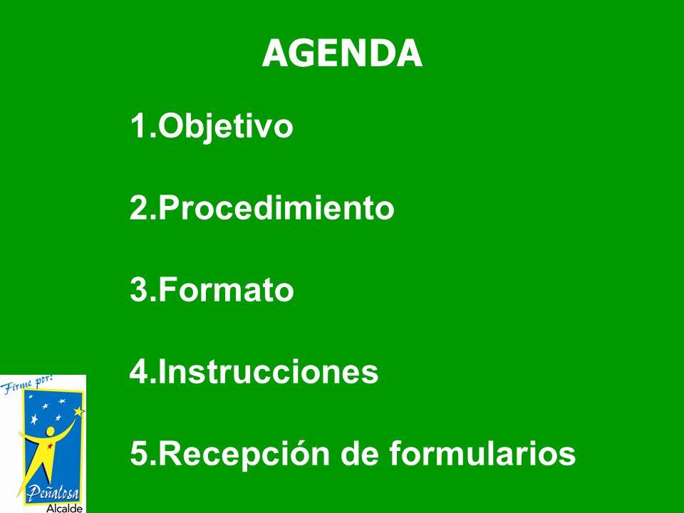 AGENDA 1.Objetivo 2.Procedimiento 3.Formato 4.Instrucciones 5.Recepción de formularios