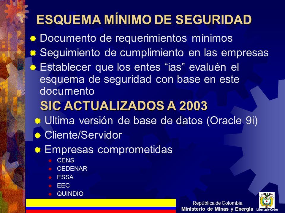 ESQUEMA MÍNIMO DE SEGURIDAD Documento de requerimientos mínimos Seguimiento de cumplimiento en las empresas Establecer que los entes ias evaluén el es