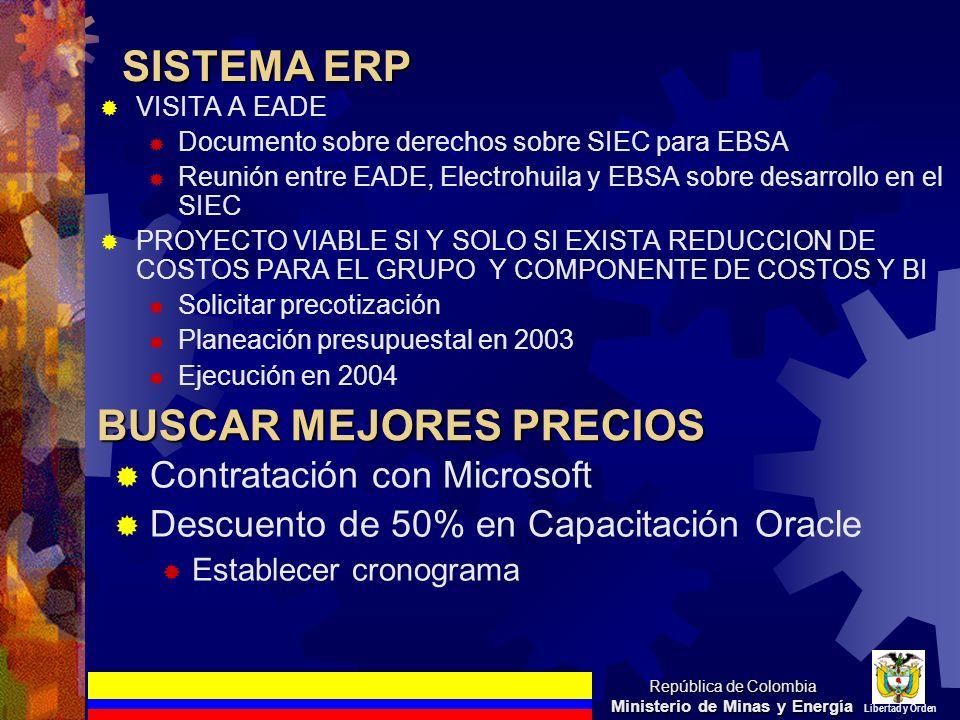 SISTEMA ERP VISITA A EADE Documento sobre derechos sobre SIEC para EBSA Reunión entre EADE, Electrohuila y EBSA sobre desarrollo en el SIEC PROYECTO V