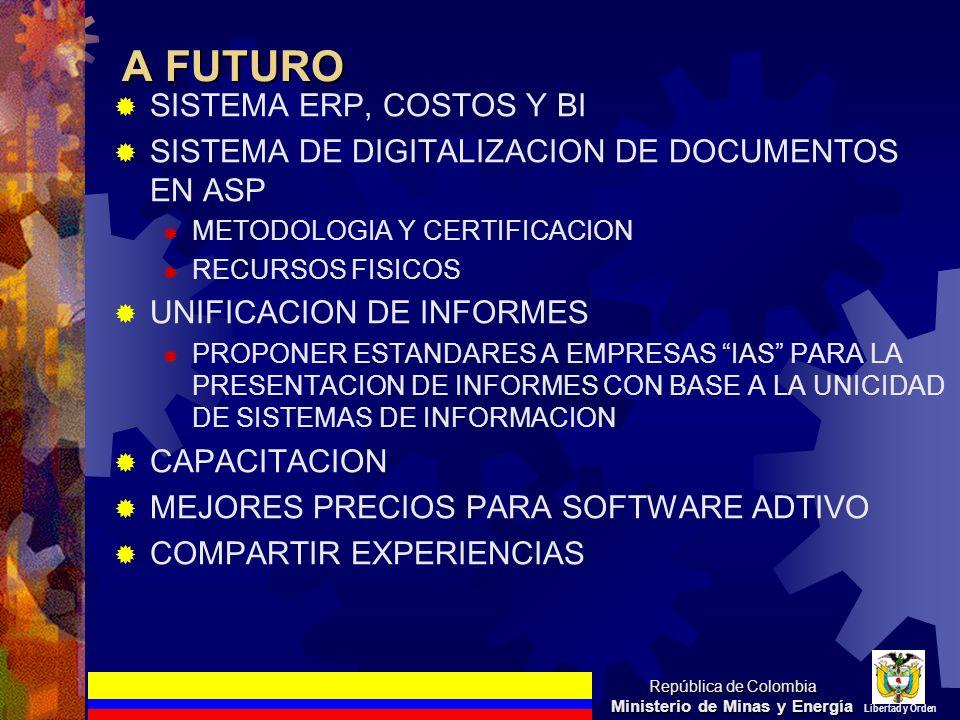A FUTURO SISTEMA ERP, COSTOS Y BI SISTEMA DE DIGITALIZACION DE DOCUMENTOS EN ASP METODOLOGIA Y CERTIFICACION RECURSOS FISICOS UNIFICACION DE INFORMES