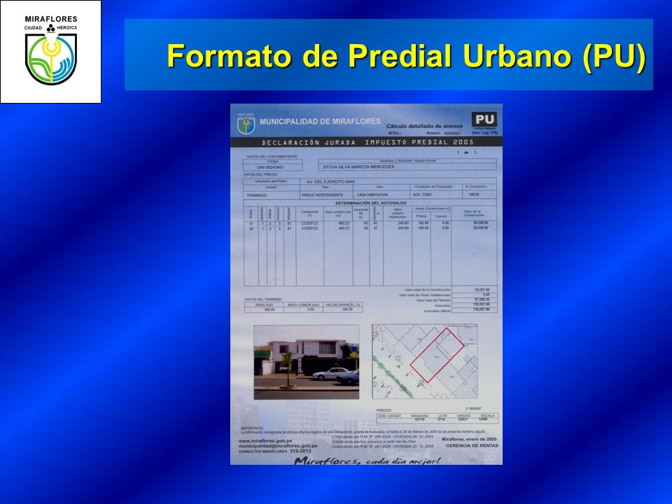 Formato de Predial Urbano (PU)
