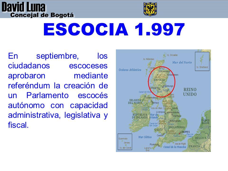 ESCOCIA 1.997 En septiembre, los ciudadanos escoceses aprobaron mediante referéndum la creación de un Parlamento escocés autónomo con capacidad admini
