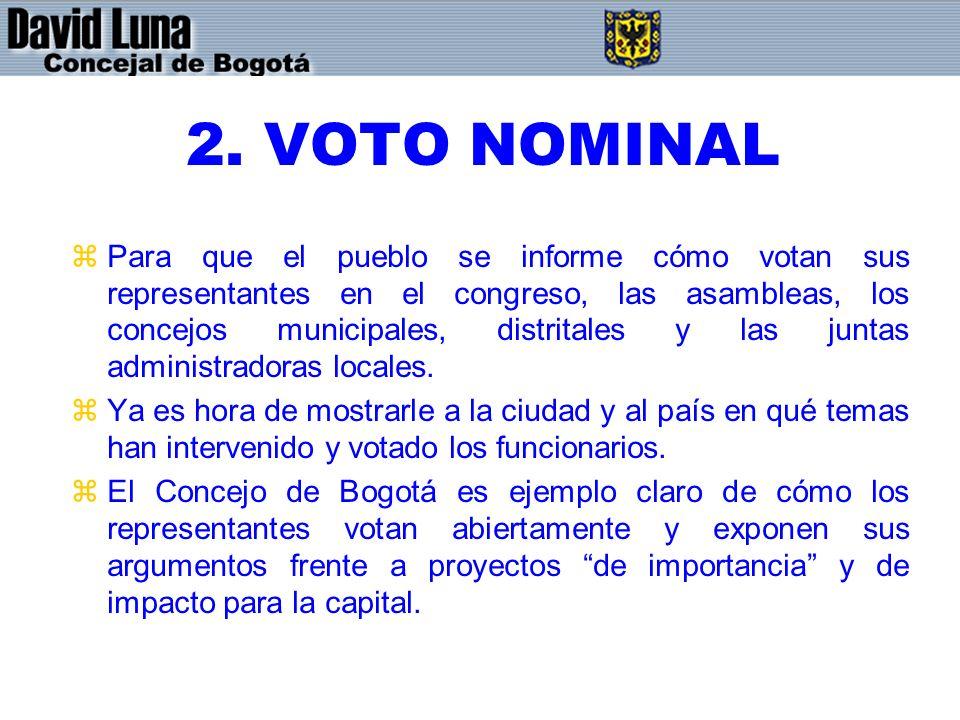 2. VOTO NOMINAL zPara que el pueblo se informe cómo votan sus representantes en el congreso, las asambleas, los concejos municipales, distritales y la