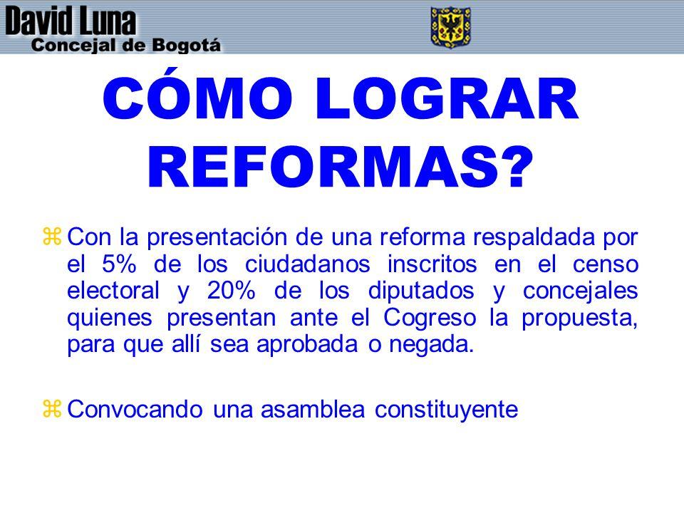 CÓMO LOGRAR REFORMAS? zCon la presentación de una reforma respaldada por el 5% de los ciudadanos inscritos en el censo electoral y 20% de los diputado