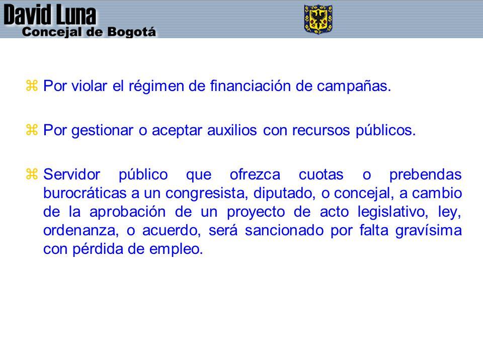 zPor violar el régimen de financiación de campañas. zPor gestionar o aceptar auxilios con recursos públicos. zServidor público que ofrezca cuotas o pr