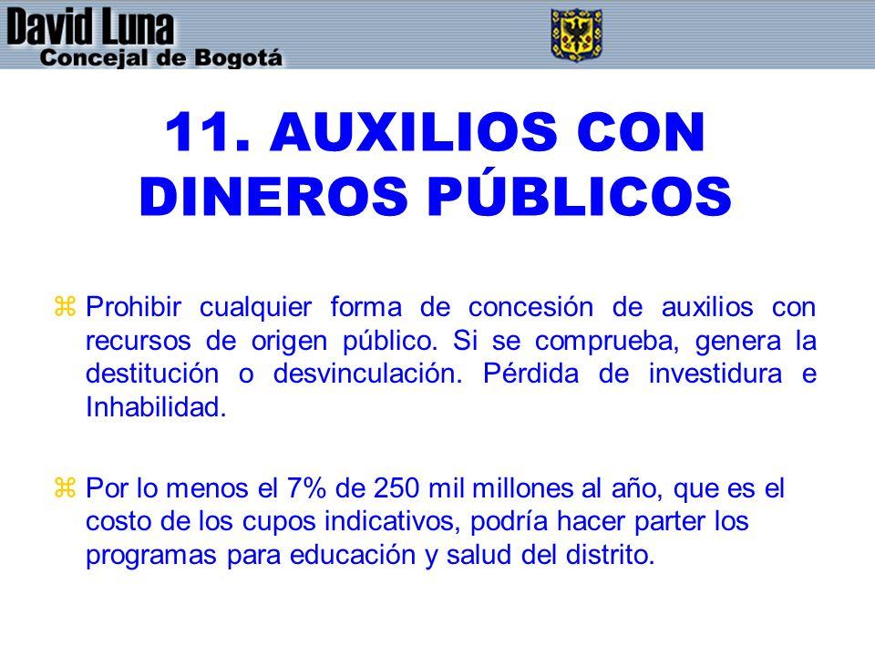 11. AUXILIOS CON DINEROS PÚBLICOS zProhibir cualquier forma de concesión de auxilios con recursos de origen público. Si se comprueba, genera la destit