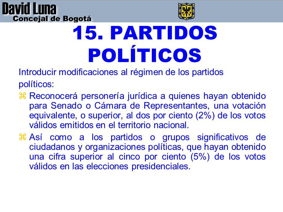 15. PARTIDOS POLÍTICOS Introducir modificaciones al régimen de los partidos políticos: zReconocerá personería jurídica a quienes hayan obtenido para S