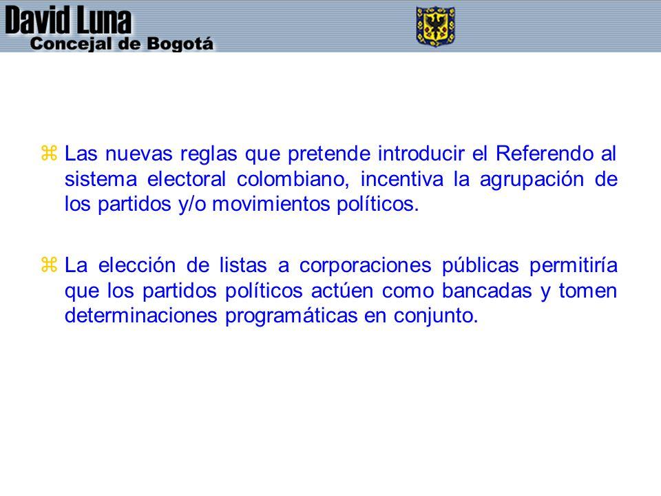 zLas nuevas reglas que pretende introducir el Referendo al sistema electoral colombiano, incentiva la agrupación de los partidos y/o movimientos políticos.