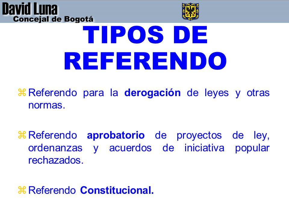 TIPOS DE REFERENDO zReferendo para la derogación de leyes y otras normas.