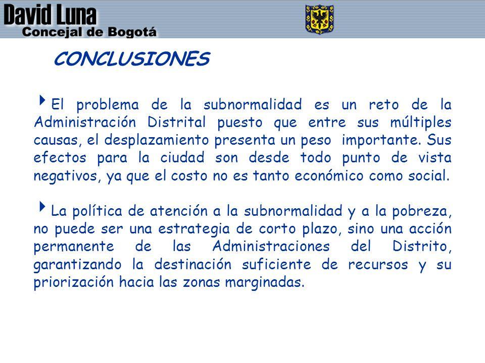 DAVID LUNA - CONCEJAL DE BOGOTÁ D.C. El problema de la subnormalidad es un reto de la Administración Distrital puesto que entre sus múltiples causas,