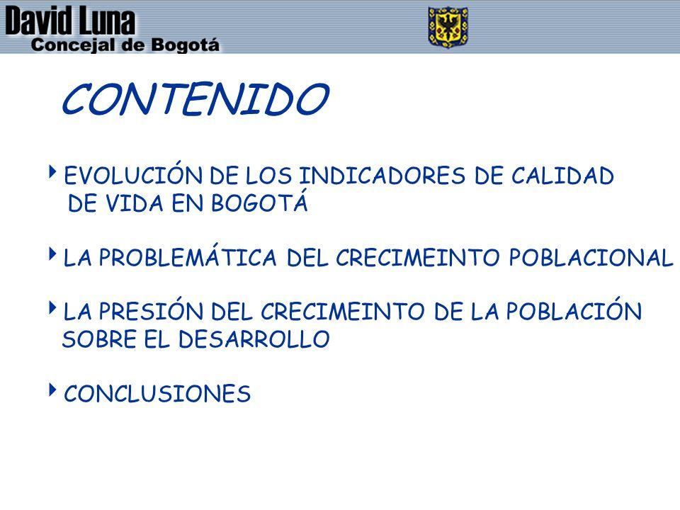 DAVID LUNA - CONCEJAL DE BOGOTÁ D.C. CONTENIDO EVOLUCIÓN DE LOS INDICADORES DE CALIDAD DE VIDA EN BOGOTÁ LA PROBLEMÁTICA DEL CRECIMEINTO POBLACIONAL L