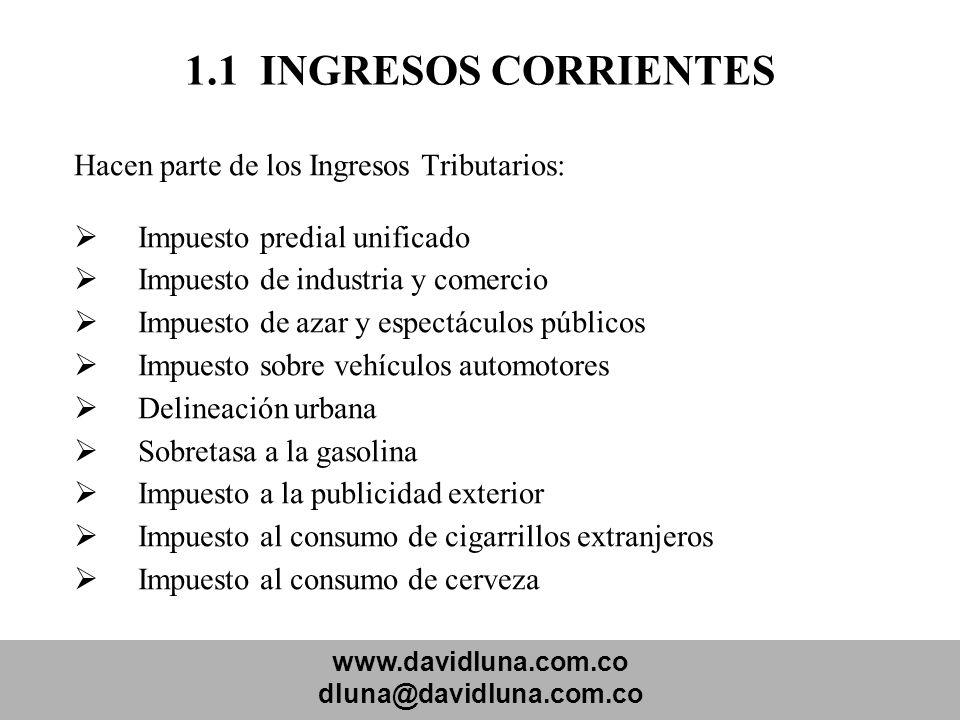 www.davidluna.com.co dluna@davidluna.com.co 1.1 INGRESOS CORRIENTES Hacen parte de los Ingresos Tributarios: Impuesto predial unificado Impuesto de in