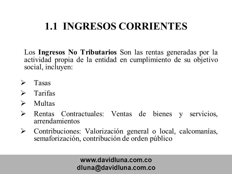 www.davidluna.com.co dluna@davidluna.com.co 1.1 INGRESOS CORRIENTES Los Ingresos No Tributarios Son las rentas generadas por la actividad propia de la
