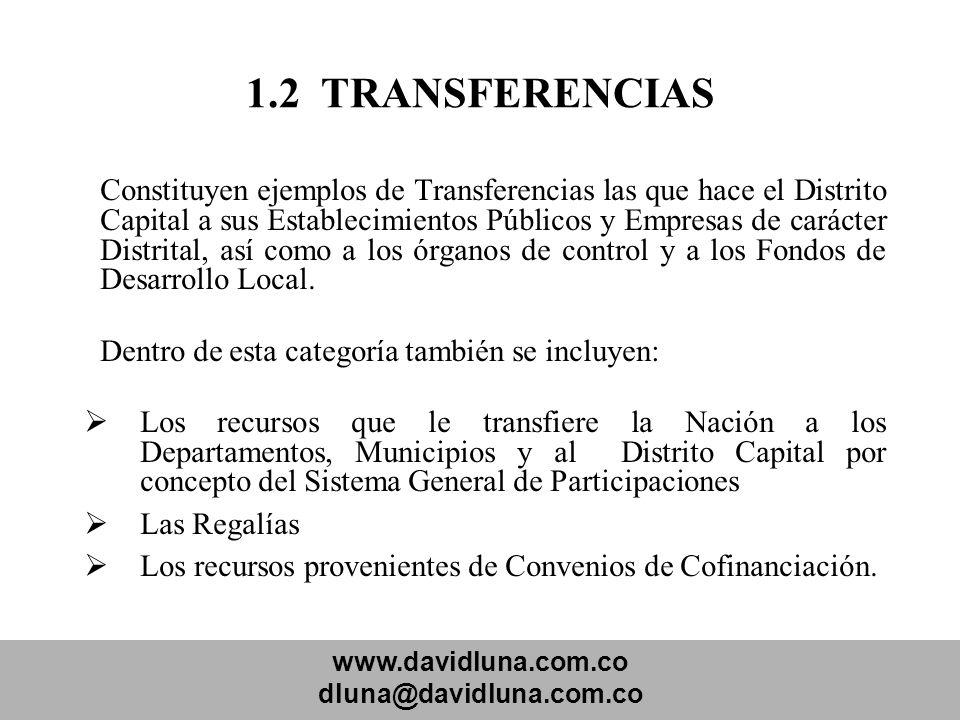 www.davidluna.com.co dluna@davidluna.com.co 1.2 TRANSFERENCIAS Constituyen ejemplos de Transferencias las que hace el Distrito Capital a sus Estableci