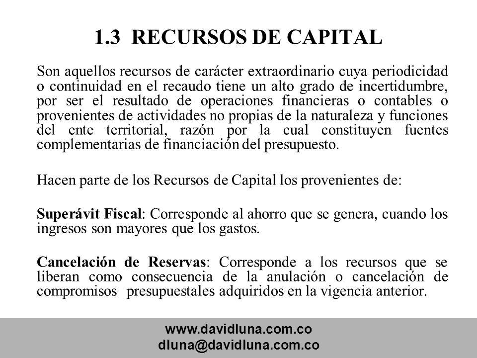 www.davidluna.com.co dluna@davidluna.com.co 1.3 RECURSOS DE CAPITAL Son aquellos recursos de carácter extraordinario cuya periodicidad o continuidad e