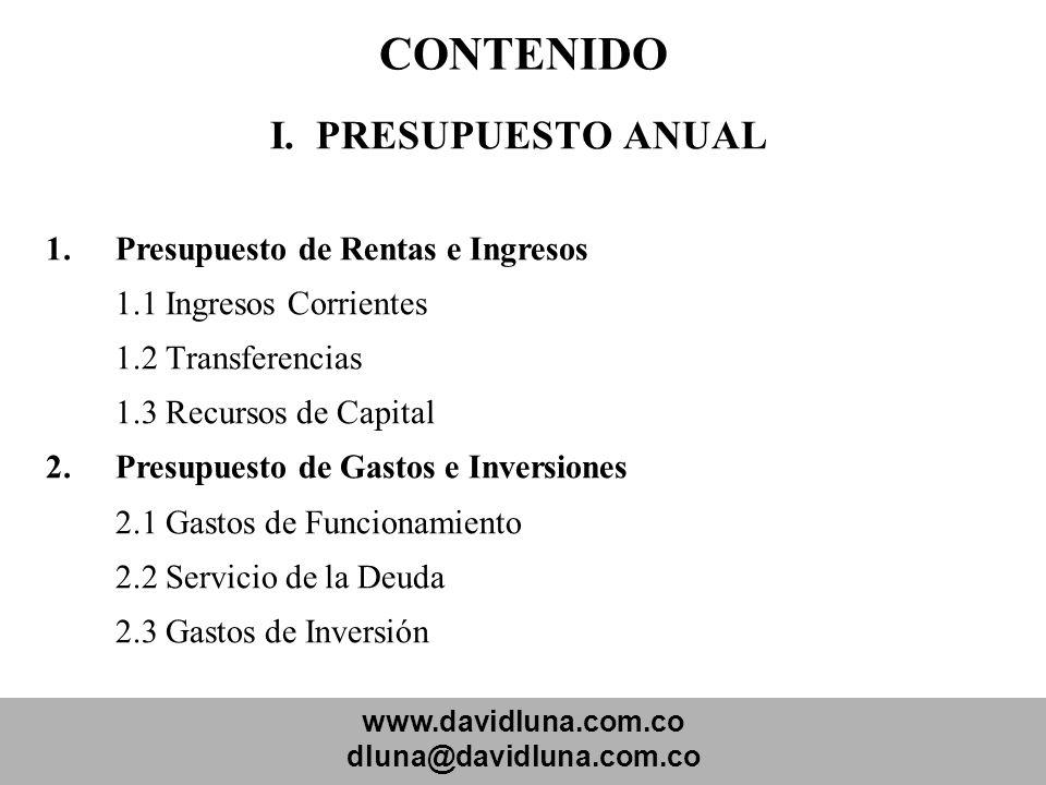 www.davidluna.com.co dluna@davidluna.com.co CONTENIDO I. PRESUPUESTO ANUAL 1.Presupuesto de Rentas e Ingresos 1.1 Ingresos Corrientes 1.2 Transferenci