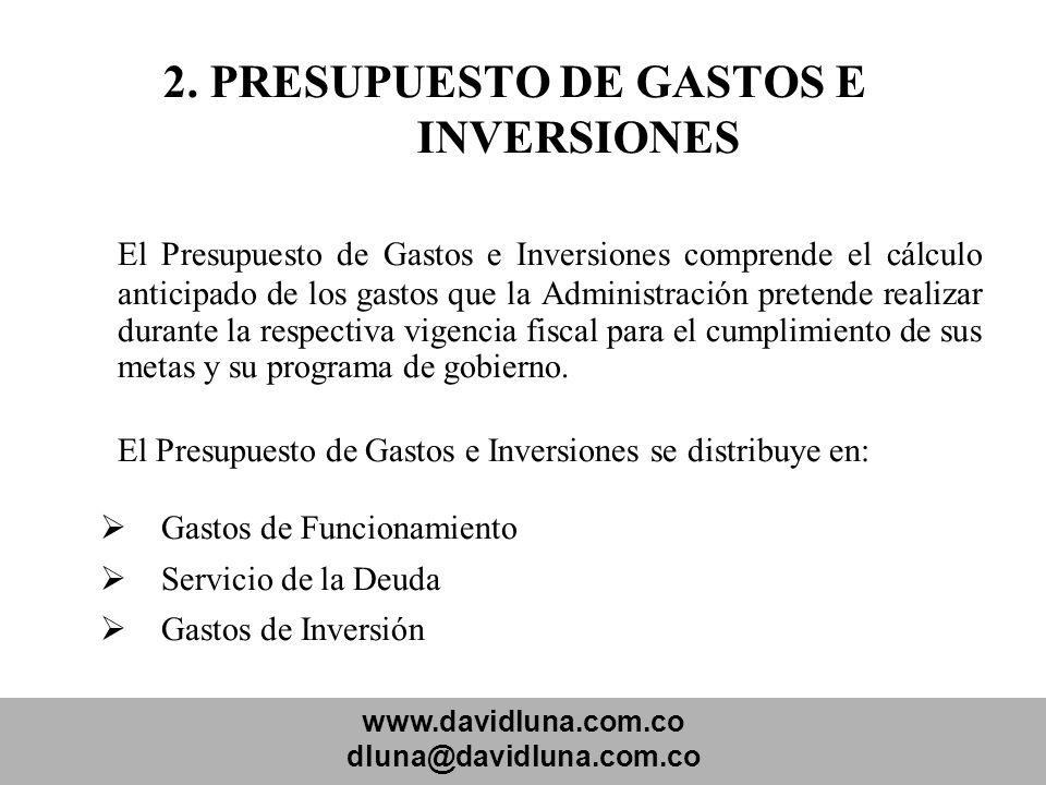 www.davidluna.com.co dluna@davidluna.com.co 2. PRESUPUESTO DE GASTOS E INVERSIONES El Presupuesto de Gastos e Inversiones comprende el cálculo anticip