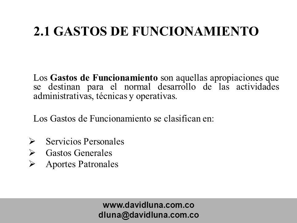 www.davidluna.com.co dluna@davidluna.com.co 2.1 GASTOS DE FUNCIONAMIENTO Los Gastos de Funcionamiento son aquellas apropiaciones que se destinan para