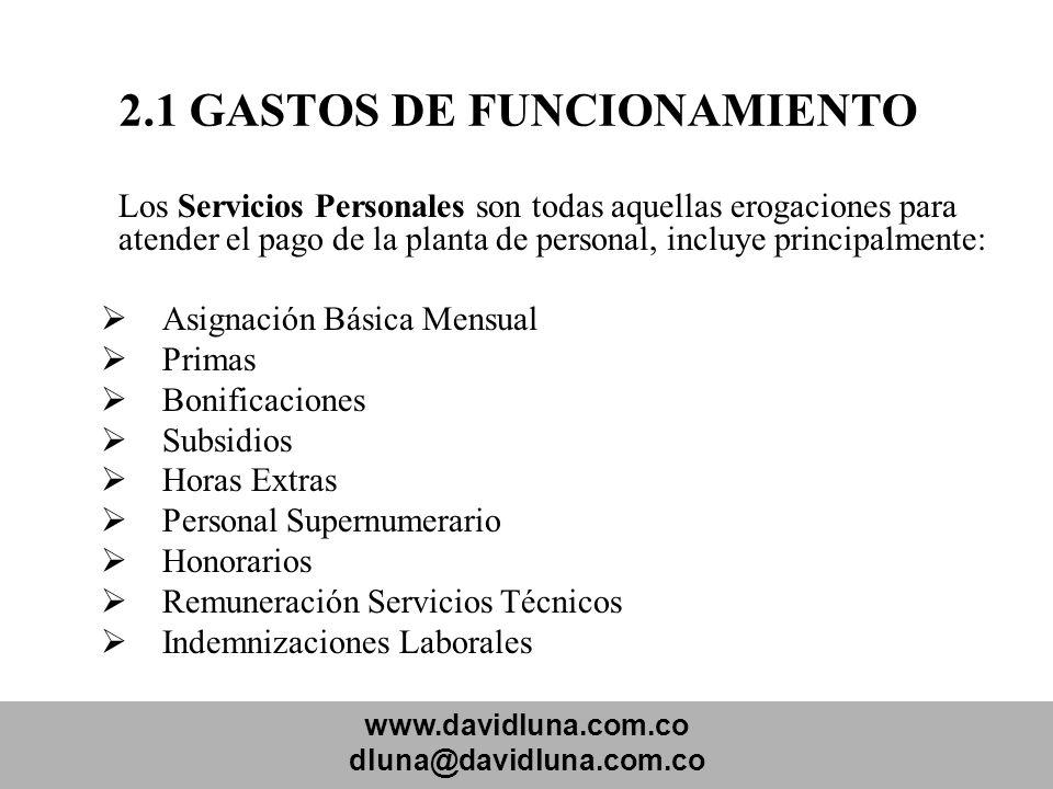 www.davidluna.com.co dluna@davidluna.com.co 2.1 GASTOS DE FUNCIONAMIENTO Los Servicios Personales son todas aquellas erogaciones para atender el pago