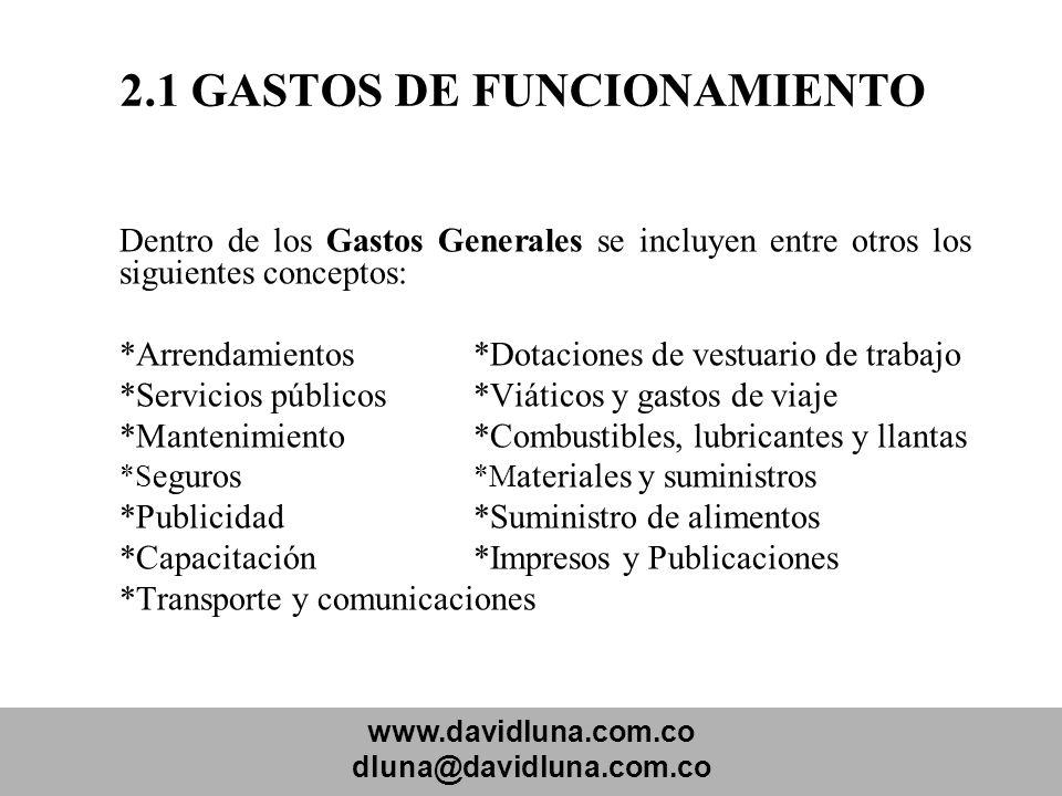 www.davidluna.com.co dluna@davidluna.com.co 2.1 GASTOS DE FUNCIONAMIENTO Dentro de los Gastos Generales se incluyen entre otros los siguientes concept