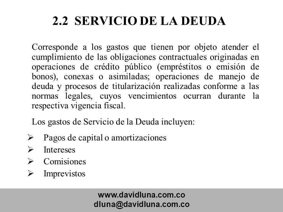 www.davidluna.com.co dluna@davidluna.com.co 2.2 SERVICIO DE LA DEUDA Corresponde a los gastos que tienen por objeto atender el cumplimiento de las obl