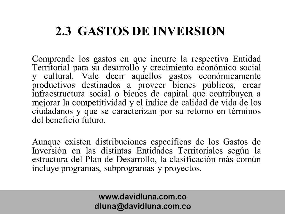 www.davidluna.com.co dluna@davidluna.com.co 2.3 GASTOS DE INVERSION Comprende los gastos en que incurre la respectiva Entidad Territorial para su desa