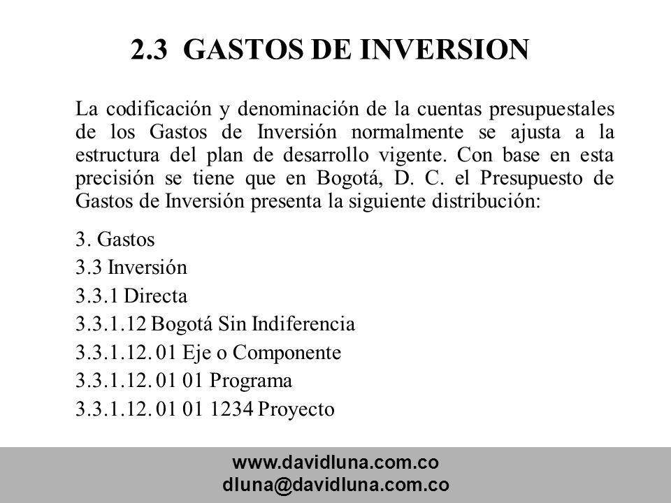 www.davidluna.com.co dluna@davidluna.com.co 2.3 GASTOS DE INVERSION La codificación y denominación de la cuentas presupuestales de los Gastos de Inver