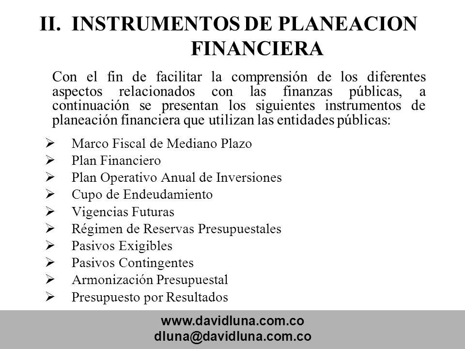 www.davidluna.com.co dluna@davidluna.com.co II. INSTRUMENTOS DE PLANEACION FINANCIERA Con el fin de facilitar la comprensión de los diferentes aspecto