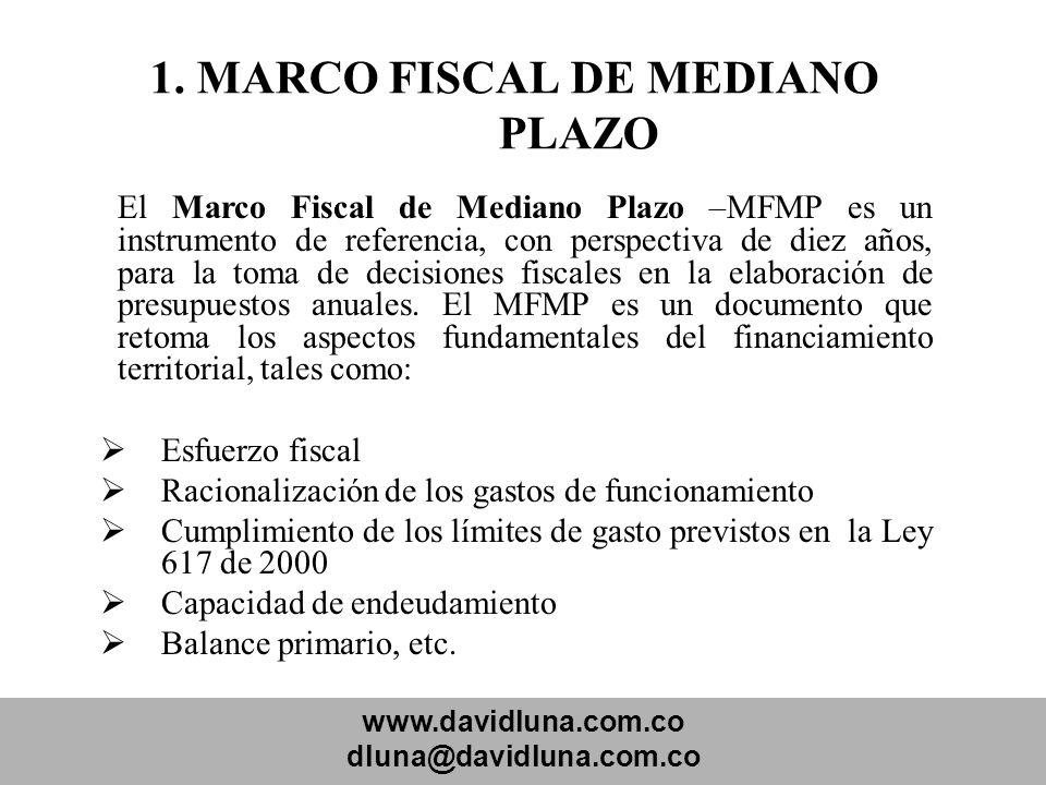 www.davidluna.com.co dluna@davidluna.com.co 1. MARCO FISCAL DE MEDIANO PLAZO El Marco Fiscal de Mediano Plazo –MFMP es un instrumento de referencia, c