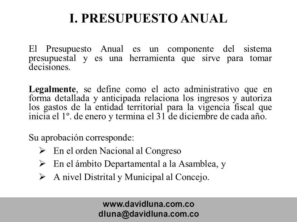 www.davidluna.com.co dluna@davidluna.com.co I. PRESUPUESTO ANUAL El Presupuesto Anual es un componente del sistema presupuestal y es una herramienta q