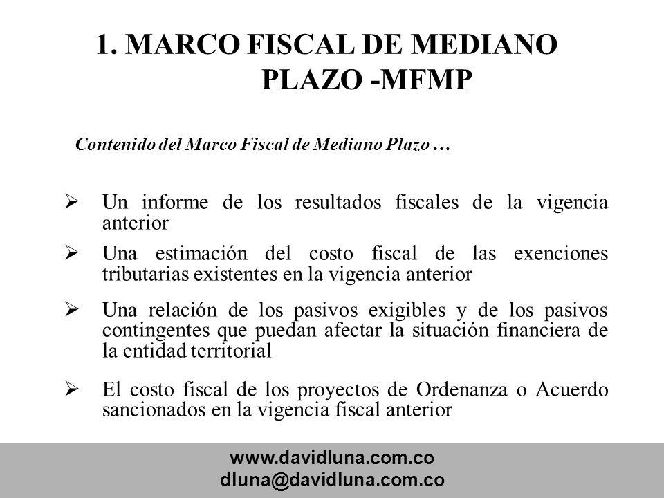 www.davidluna.com.co dluna@davidluna.com.co 1. MARCO FISCAL DE MEDIANO PLAZO -MFMP Contenido del Marco Fiscal de Mediano Plazo … Un informe de los res