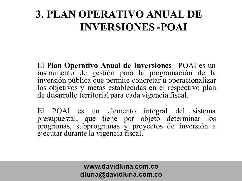 www.davidluna.com.co dluna@davidluna.com.co 3. PLAN OPERATIVO ANUAL DE INVERSIONES -POAI El Plan Operativo Anual de Inversiones –POAI es un instrument