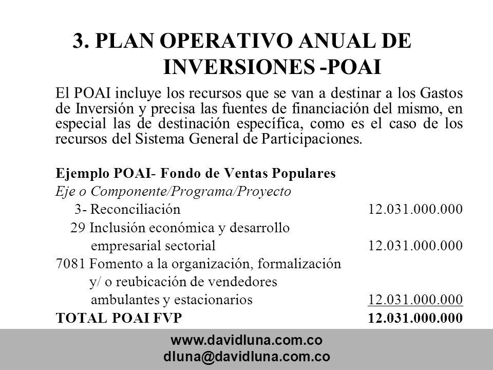 www.davidluna.com.co dluna@davidluna.com.co 3. PLAN OPERATIVO ANUAL DE INVERSIONES -POAI El POAI incluye los recursos que se van a destinar a los Gast