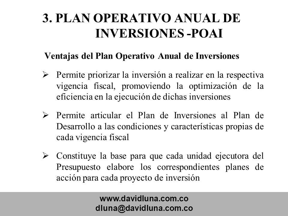www.davidluna.com.co dluna@davidluna.com.co 3. PLAN OPERATIVO ANUAL DE INVERSIONES -POAI Ventajas del Plan Operativo Anual de Inversiones Permite prio