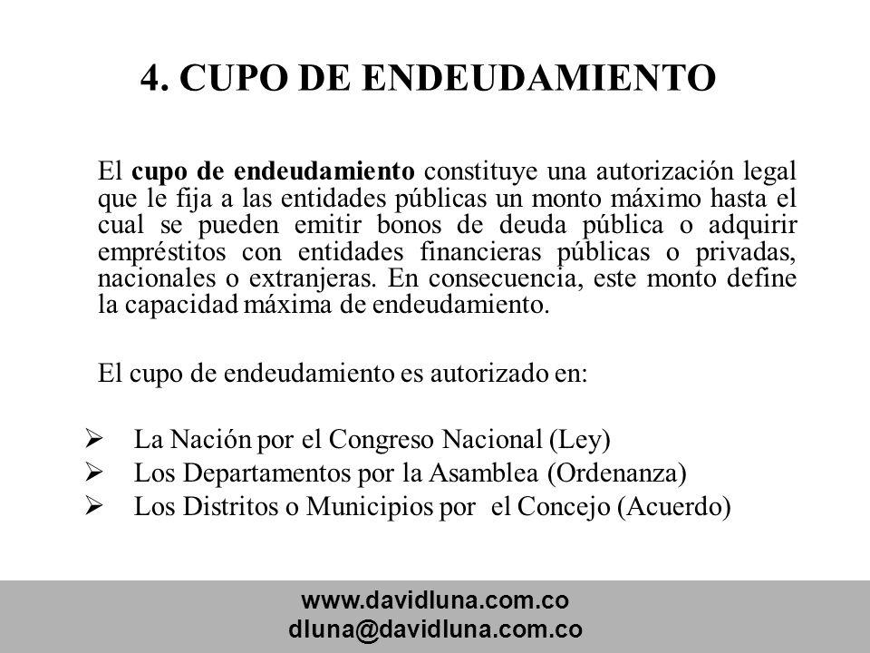 www.davidluna.com.co dluna@davidluna.com.co 4. CUPO DE ENDEUDAMIENTO El cupo de endeudamiento constituye una autorización legal que le fija a las enti