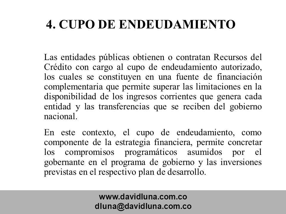 www.davidluna.com.co dluna@davidluna.com.co 4. CUPO DE ENDEUDAMIENTO Las entidades públicas obtienen o contratan Recursos del Crédito con cargo al cup