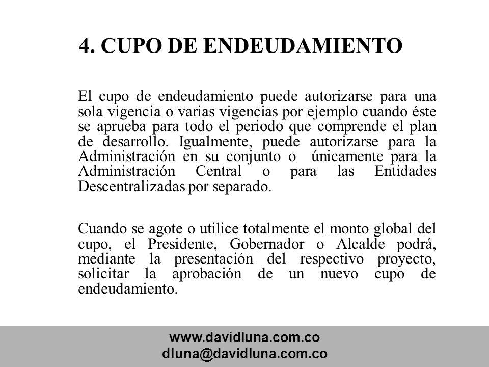 www.davidluna.com.co dluna@davidluna.com.co 4. CUPO DE ENDEUDAMIENTO El cupo de endeudamiento puede autorizarse para una sola vigencia o varias vigenc