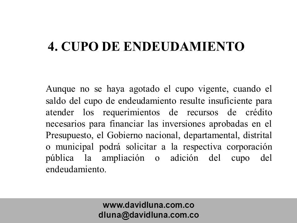 www.davidluna.com.co dluna@davidluna.com.co 4. CUPO DE ENDEUDAMIENTO Aunque no se haya agotado el cupo vigente, cuando el saldo del cupo de endeudamie