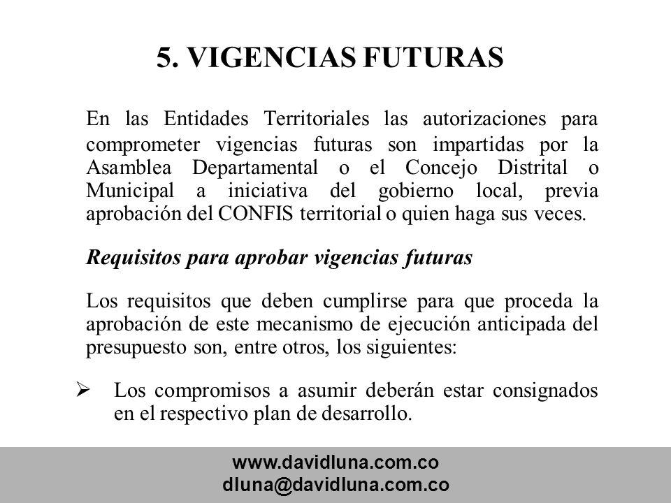 www.davidluna.com.co dluna@davidluna.com.co 5. VIGENCIAS FUTURAS En las Entidades Territoriales las autorizaciones para comprometer vigencias futuras