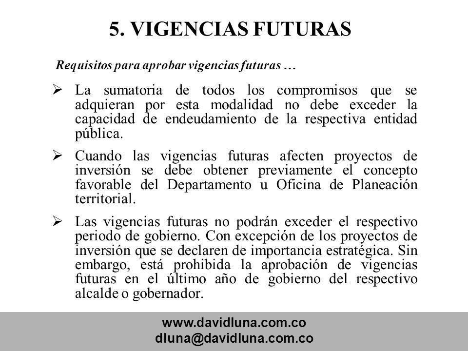 www.davidluna.com.co dluna@davidluna.com.co 5. VIGENCIAS FUTURAS Requisitos para aprobar vigencias futuras … La sumatoria de todos los compromisos que