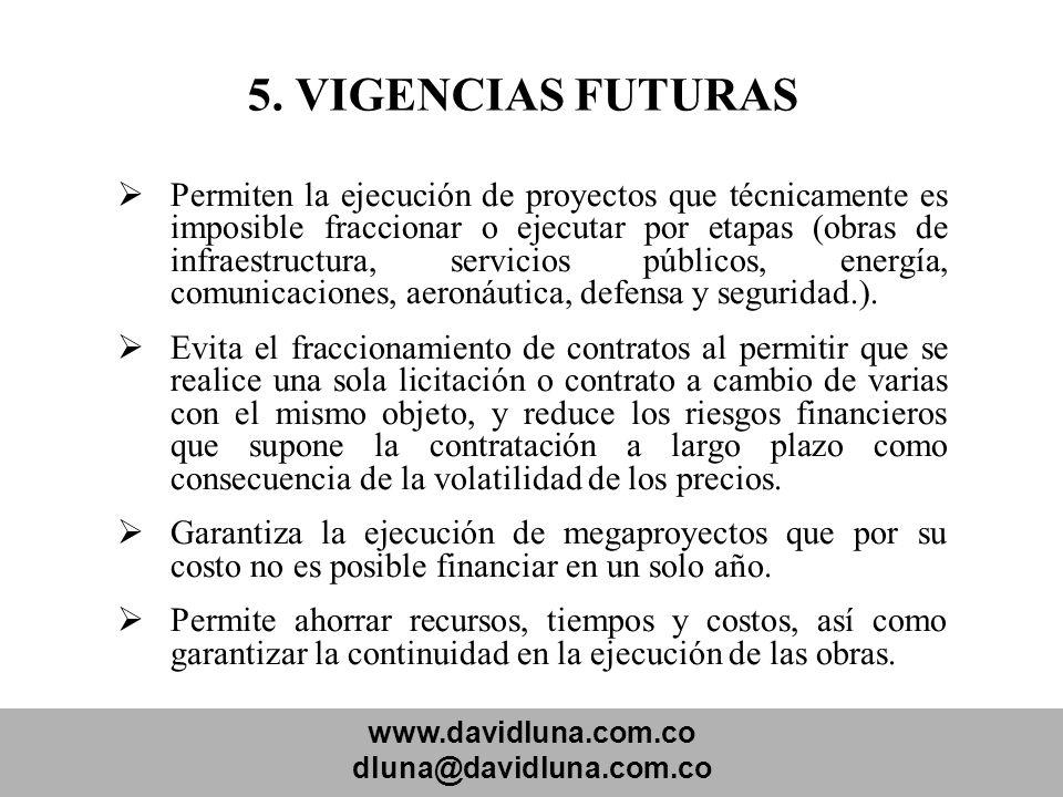 www.davidluna.com.co dluna@davidluna.com.co 5. VIGENCIAS FUTURAS Permiten la ejecución de proyectos que técnicamente es imposible fraccionar o ejecuta