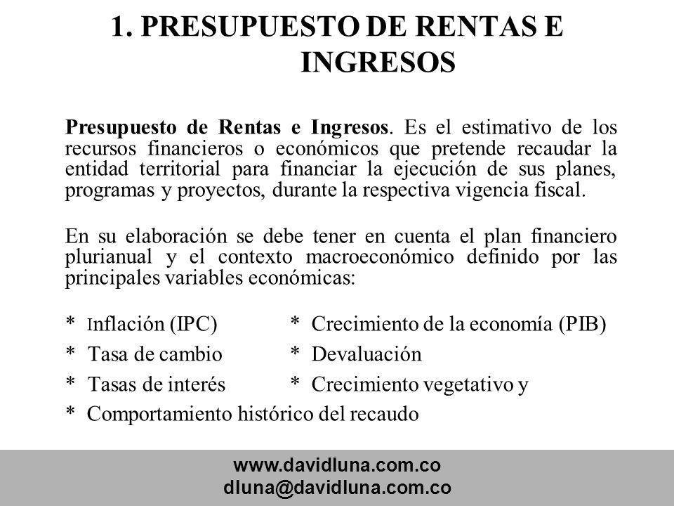 www.davidluna.com.co dluna@davidluna.com.co 1. PRESUPUESTO DE RENTAS E INGRESOS Presupuesto de Rentas e Ingresos. Es el estimativo de los recursos fin