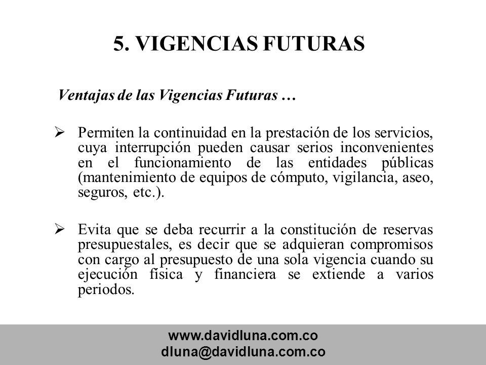 www.davidluna.com.co dluna@davidluna.com.co 5. VIGENCIAS FUTURAS Ventajas de las Vigencias Futuras … Permiten la continuidad en la prestación de los s